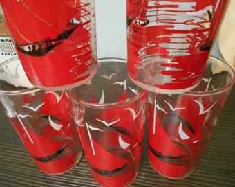 red and white sail boat water glasses 5 of  them