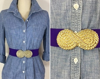 30% Off Sale 80s Wide Purple Stretch Belt with Gold Swirl Buckle, Size Large to XL