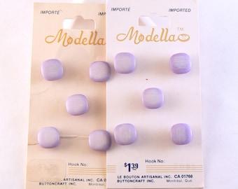 "10 - 7/16"" Purple Buttons - Plastic Purple Square Shank Buttons - 11 mm Purple Sewing Buttons - Vintage Buttons - Button Card #PS-29-02"