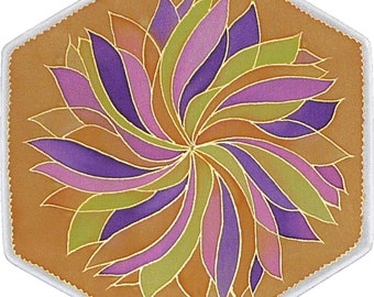 "Lotus flower  mandala on silk, 8"" Ø, silk painting, meditation, picture, relaxation, new age"
