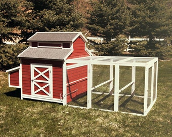 "Schoolhouse Chicken Coop Holds 12 Chickens Douglas Fir w/ Nest Boxes 60"" Run"
