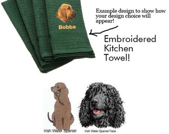 Irish Water Spaniel Personalized Embroidered Kitchen Towel