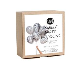 Black/White Marble Party Balloons / Set of 8