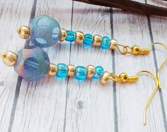 Blue Earrings, Blue Bead Earrings, Blue Drop Earrings, Blue Dangle Earrings, Pale Blue Earrings, Long Blue Earrings, Rainbow Earrings,