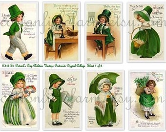 St. Patrick's Day Children Vintage Postcards Digital Collage Set C-142 Two Sheets for Scrapbooking, Tags, Handmade Cards, Decoupage