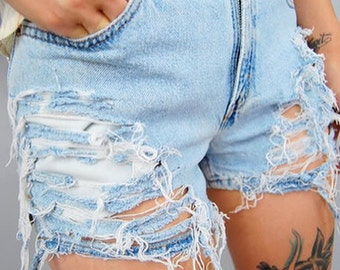 Vintage denim high waisted shorts, distressed shorts high waisted shorts levis wrangler lee plussize all washes cut offs destroyed shorts