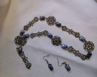 "22"" Antique Looking Gold Chain and Blue Beaded Necklace with Matching Earrings, necklace, earrings, matching, gold chain, blue"