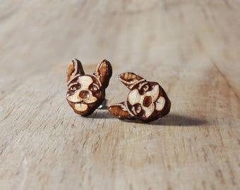 Wood Boston Terrier studs. Boston terrier earrings, wood dog earrings, dog studs, puppy earrings, puppy studs, dog jewelry, puppy jewelry