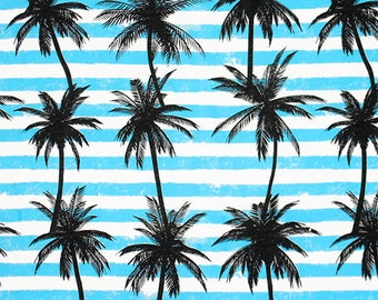 Palm Tree Silhouettes on Aqua Stripes Cotton Jersey Blend Knit Fabric **UK Seller**