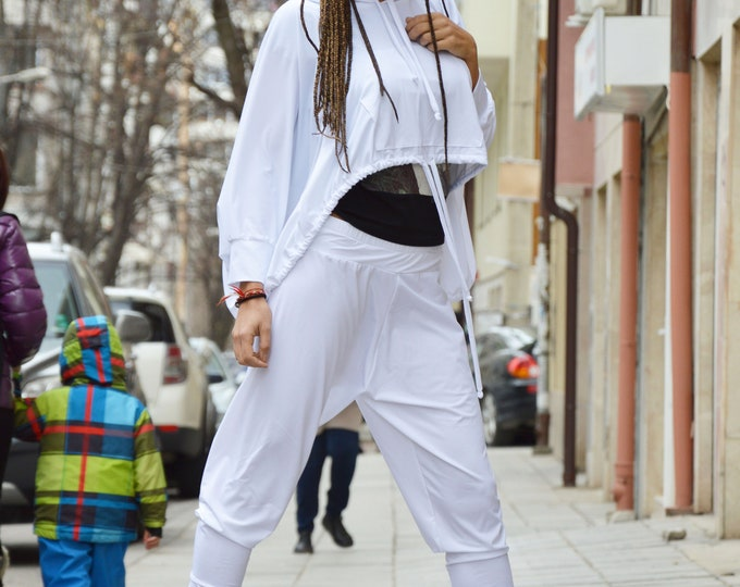 White Hooded Set, Loose Casual Sweatshirt, Drop Crotch Pants, Everyday Sports Set, Extravagant Dress by SSDfashion
