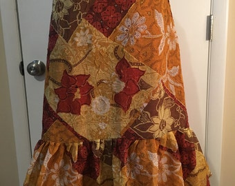 SALE One of a kind Fall Flower Burnt Orange & Ruffle skirt- One size fits most by GmaJanisew