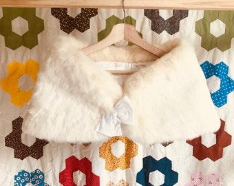 Vintage White Fur Stole