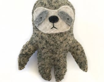 Gray Brown Sloth - Recycled Wool Sweater Plush Toy