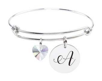 Initial Bangle made with Crystals from Swarovski - A - SWABANGLE-GLD-AB-A - Silver