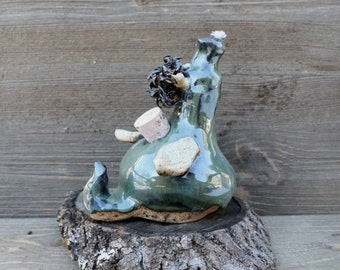 Pottery Dragon Oil Lamp, Green Ceramic Dragon, Whimsical Hippie Gift, Boho Pottery, Gypsy Lamp, Fantasy Home Decor, Medieval Oil Lamp, Silly