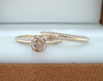 Champagne Diamond Engagement Ring Set, Champagne Diamond Wedding Sets, 14K Yellow Gold Micro Pave 1.14 Carat Handmade