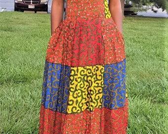 Multi-colored Long Pleated Ankara Skirt