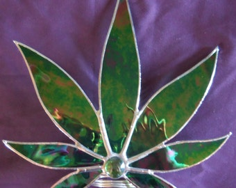 Marijuana Leaf Christmas Tree Topper, Free Standing Stained Glass Pot Leaf, Cannabis Decor, Custom Tree Toppers
