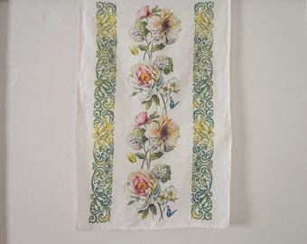 Vintage Linen Floral Dish Towel Russian Pastel Printed