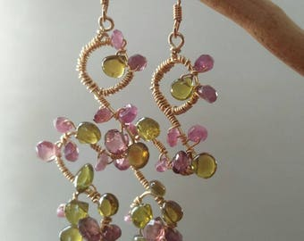Tourmaline wire wrapped earrings