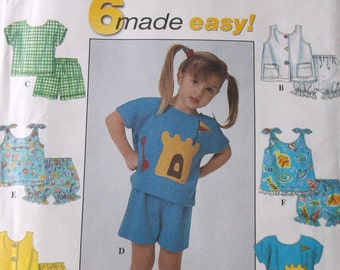 Simplicity 8674 Toddlers Summer Tops and Shorts Pattern Toddler Size 6 mo,1,2 years