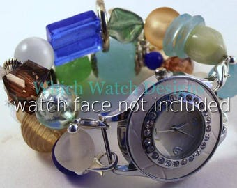 Beach Glass.. Soothing Blue, Green, Aqua, Brown and Champagne Interchangeable Beaded Watch Band