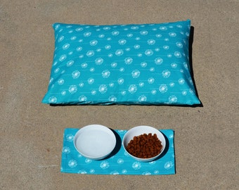 Turquoise Dog Bed Cover free pet mat, Premier Prints Small Dandelion , Large Dog Bed Cover, Designer Dog Bed Cover , Unique dog bed cover