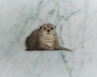 Otter magnet, otter gift, cute otter, handdrawn magnet, lucky charm, shrink plastic, otter, handmade magnet, unique magnet, animal magnet