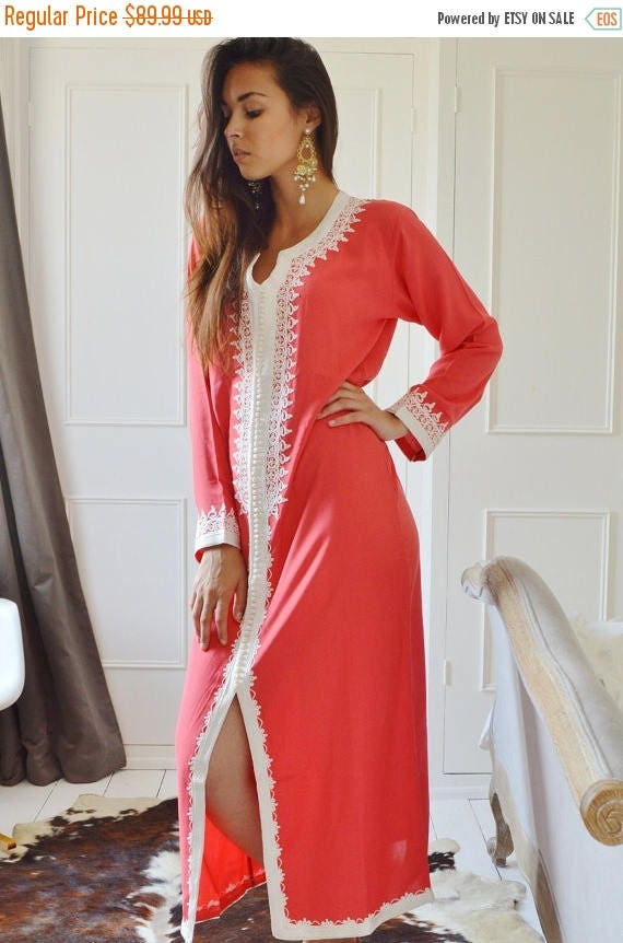 KAFTAN 20% SALE/ Summer Salmon Pink Caftan Maxi Dress- Karima Style-loungewear,resortwear,resortwear, Birthdays,Honeymoon or Maternity Gifts