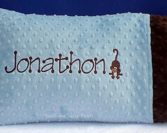 Pillow with Name, Personalized Toddler Pillow Case, Custom Pillows, Minky Pillow Cases, Monkey or Anything, Any Color, Includes 12x16 Pillow
