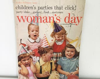 Woman's Day Magazine (Feb 1955) - Children's Parties issue