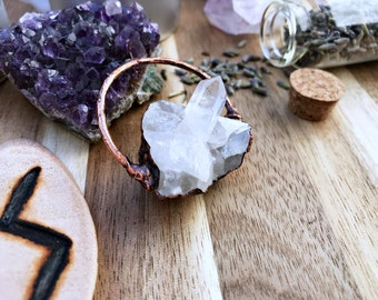 Witchy copper clear quartz necklace