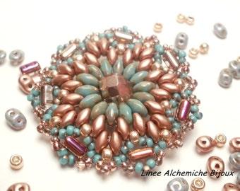 Come fare il Ciondolo Lotus, Schema di perline con rocailles,mezzi cristalli,rulla e superduo