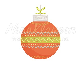 Red Christmas Bauble Clipart Illustration for Small Commercial Use - 0072