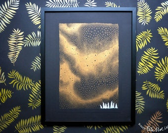 Aurora Borealis, metallic gold risograph print, illustration in A3, gold on black poster art