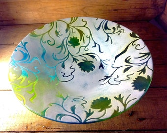 Fused Glass Large Floral and Trellis Bowl -  Aqua & Green