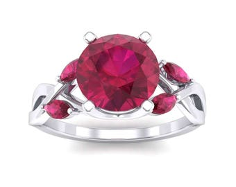 Twisting Vine Ruby Engagement Ring, Ring, Engagement Ring, Ruby, Ruby Ring, Ruby Jewelry, Gift For Her, Gift, Jewelry