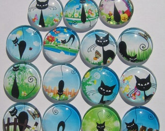 Set of 14 cabochons 25 mm round curved with images of cat in the grass