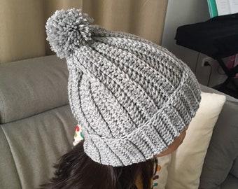 Crochet ribbed beanie with pom pom, beanie for women