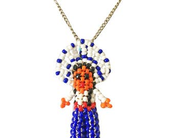 Vintage Native American Seed Bead Pendant Necklace