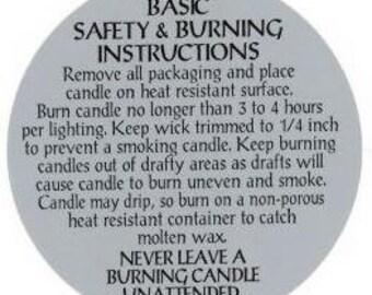 Pillar Candle Warning Label - 10 Pack
