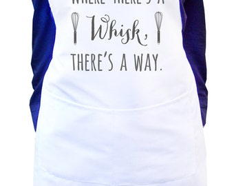 Where there's a whisk there's a way, White kitchen apron, Ladies white baking apron design, Personalized women's apron, Gift for mom