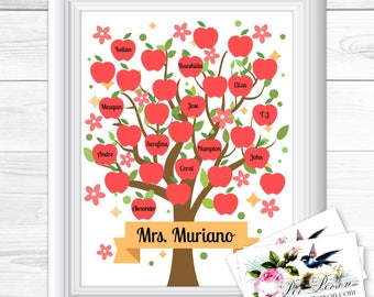 """Apples Flowers Signature Personalized Custom Gift Teacher Appreciation Principal Administrator Subway Wall Art Sign 8x10"""" Any Names  Blank"""