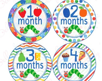 Neutral Monthly Baby Stickers, 1 to 12 Months, Monthly Bodysuit Stickers, Baby Age Stickers, Caterpillar