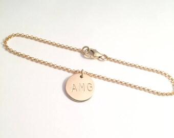 Initial charm bracelet etsy gold initial charm bracelet minimalist inital bracelet dainty personalized bracelet personalized gift mozeypictures Images