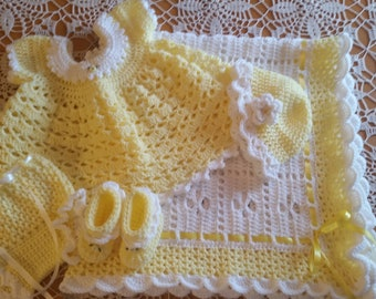 Hand Made Crochet Baby Blanket Gift Set Yellow and White 3-6 months Baby Shower