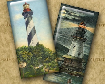 1x2 inch VINTAGE U.S. LIGHTHOUSES Digital Printable Domino collage sheet for making Jewelry Magnets Crafts