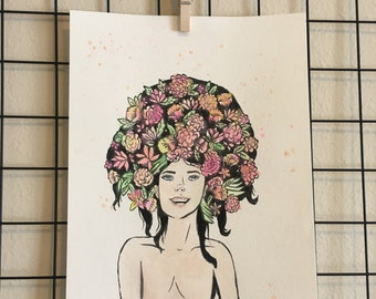 Watercolor Painting - Garden Hair