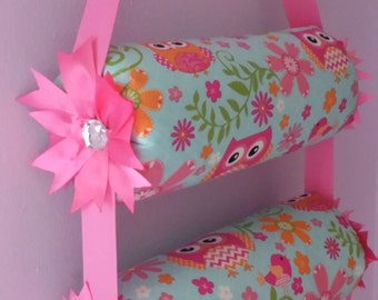 Double Bolster 13 inch Headband Organizer with Pinwheel Bows by Everlastings By Sue