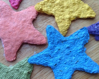 10 plantable star, seed star, plantable wedding favor, plantable handmade paper, sympathy gift, plantable tag, table decoration, eco gift